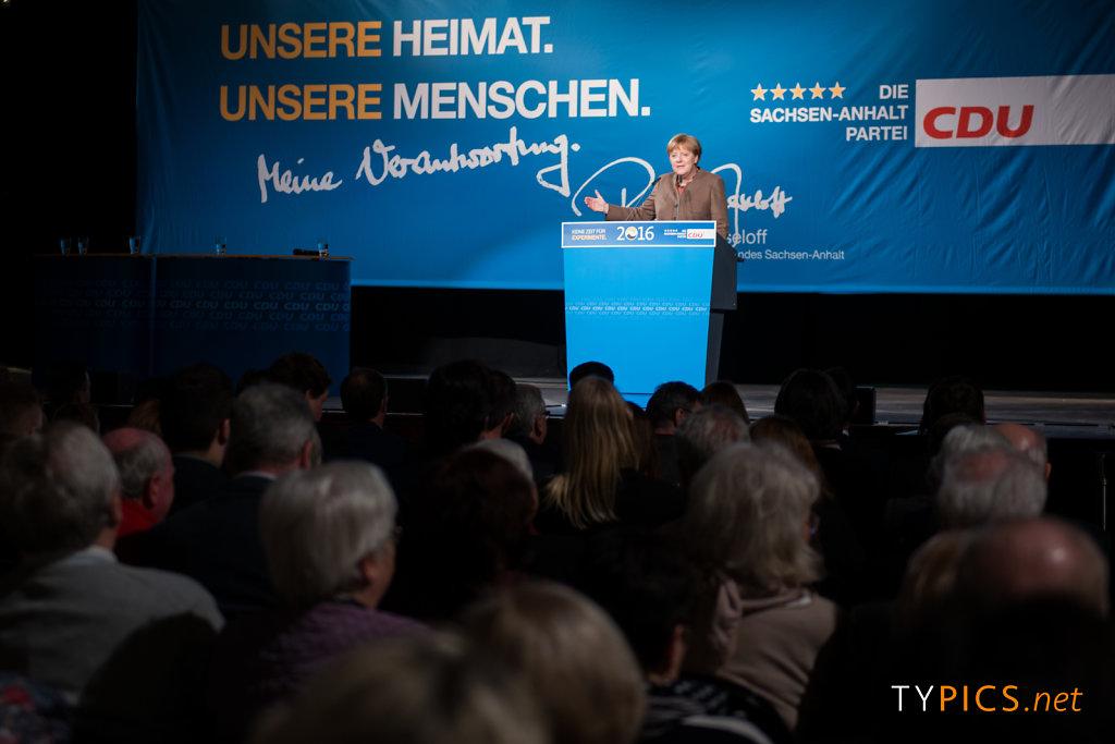Wahlkampfabschluss mit Angela Merkel zur Landtagswahl 2016 in Halle (Saale)